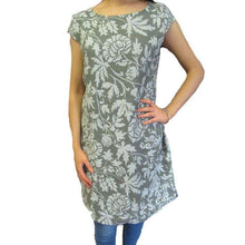 Damask Print Linen Mix Dress Khaki
