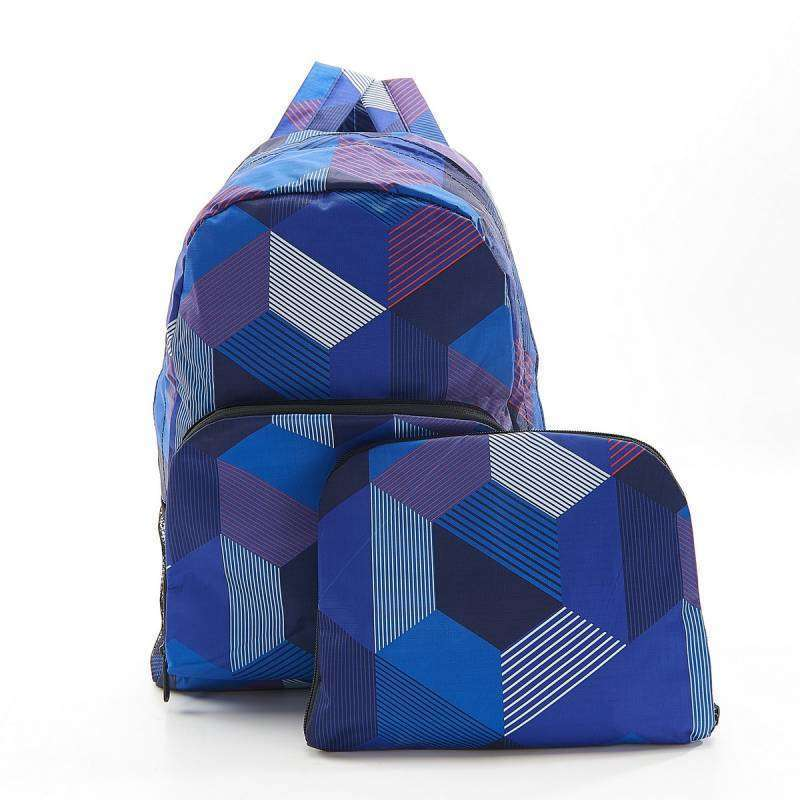 Eco Chic Foldable Backpack Triangle Blue