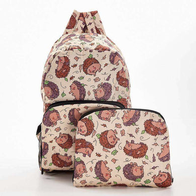 Eco Chic Foldable Backpack Hedgehog Beige