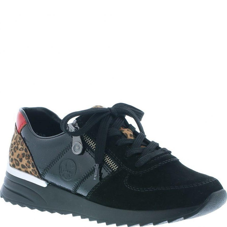 Rieker trainer black red and leopard combination