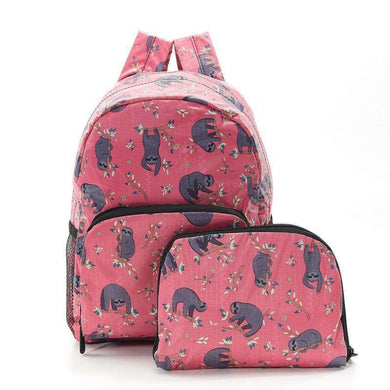 Eco Chic Foldable Mini Backpack Sloth Fuchsia