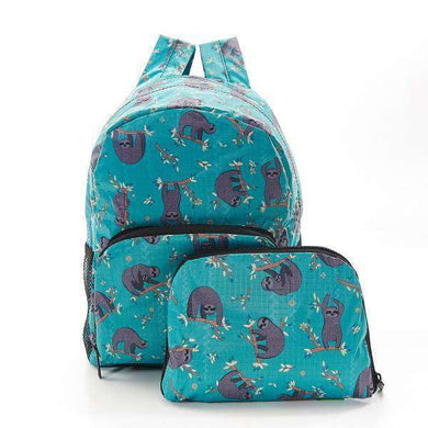 Eco Chic Foldable Mini Backpack Sloth Teal
