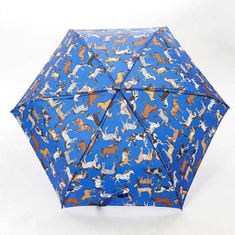 Compact Umbrella Eco Chic Country Horses Blue