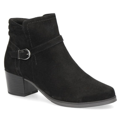 Caprice Black Suede Leather Low Heeled Ankle Boot With Buckle Strap Detail