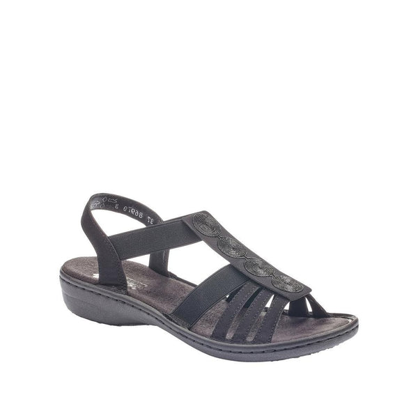 Rieker 60870-00 Black Low Wedge Sandal