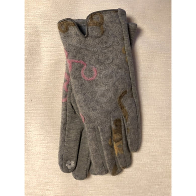 Multi-print Touch Finger Gloves Grey