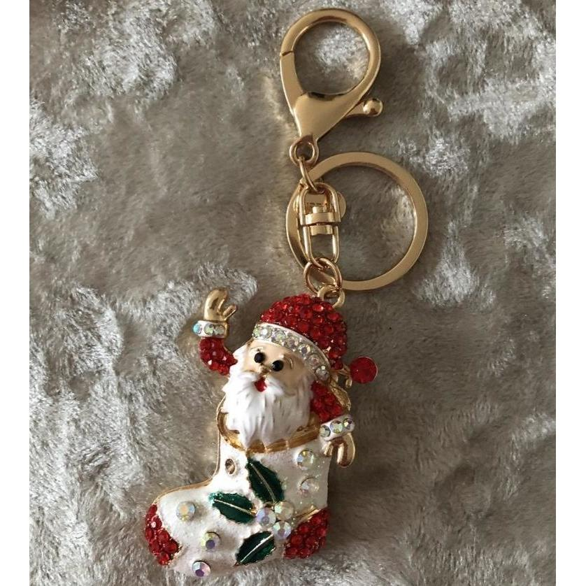 Key Ring/Bag Charm Diamante Gold Santa