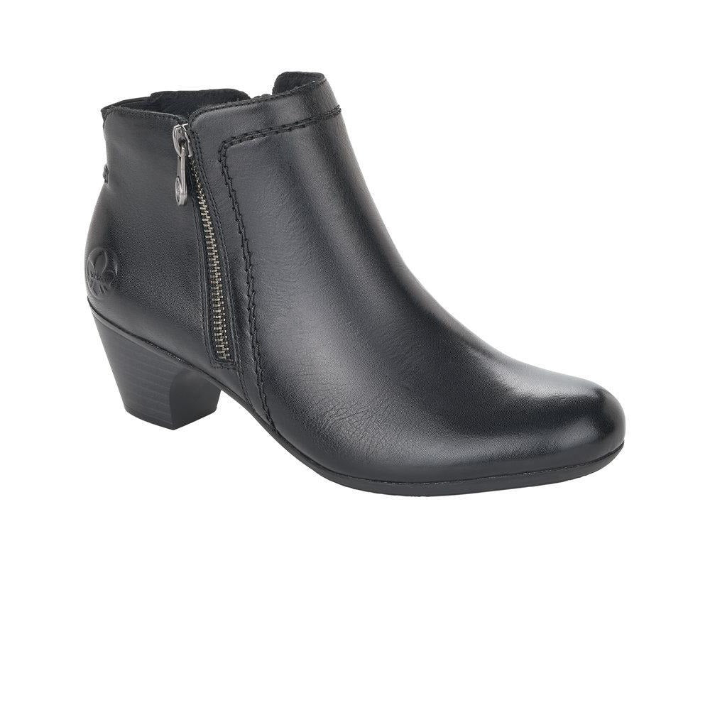 Rieker Ladies Black Leather Zip Up Heeled Ankle Boots