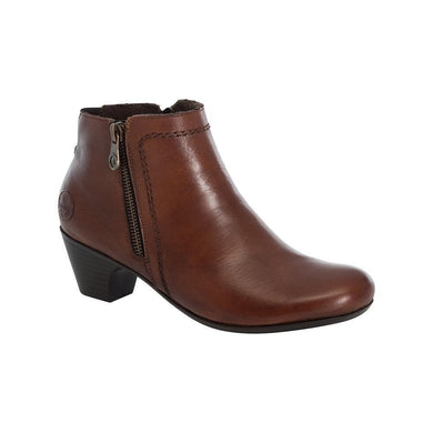 Rieker Ladies Boots Brown/Tan Leather Zip Up Heeled Ankle Boots