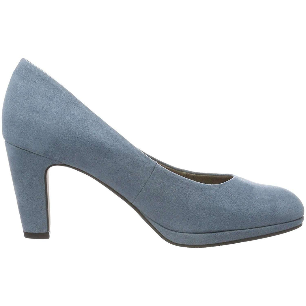 Court Shoe Mid Heel Tamaris Suede Denim