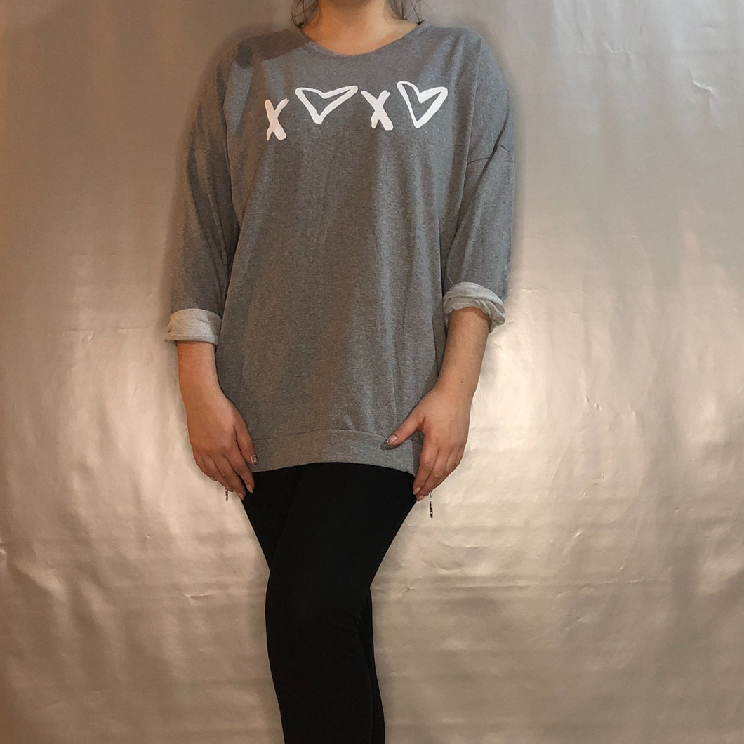 Ladies Sweatshirt Jumper x Heart Grey