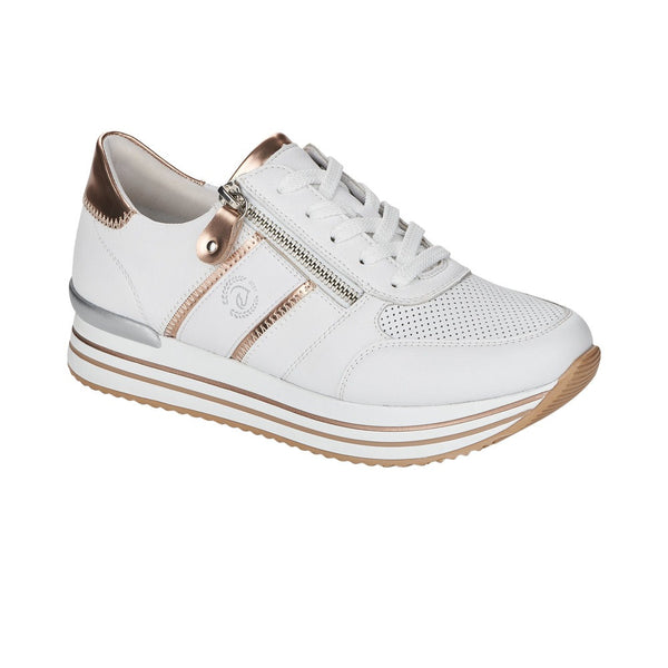 Remonte D1310-81 White Combination Lace Up Trainer