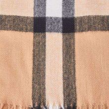 Scarf Check Soft Feel Camel