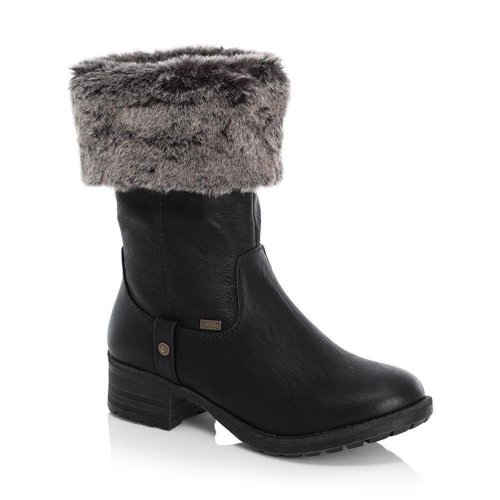 Rieker Ladies Tex Black Zip Up Mid-Calf Roll Down Boot With Fleece Lining