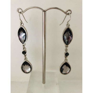 Tear Drop Earring With Pewter Crystals