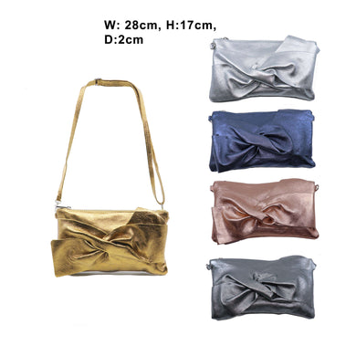 Missy Shimmer Bow Leather Clutch Bag (5 Colours)
