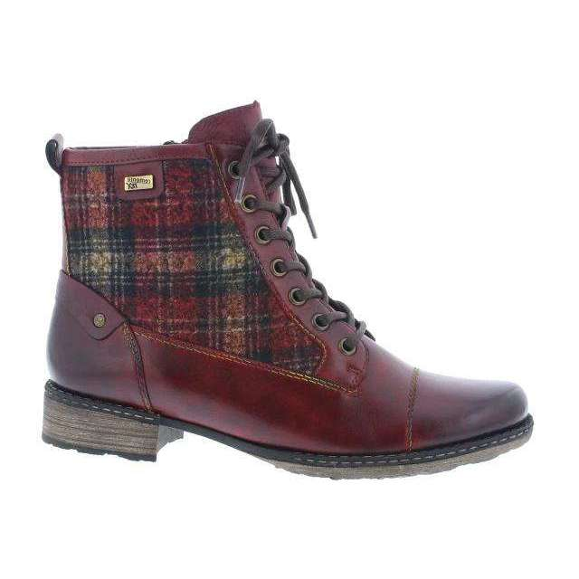 Ankle Boot With Check Design Remonte Red Combination