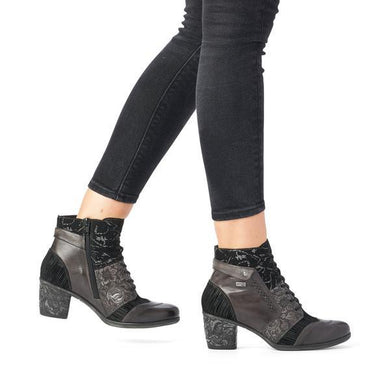 Remonte Tex Grey/Black Combination Heeled Ankle Boot