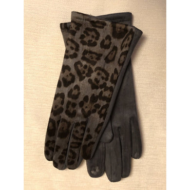Leopard Touch Finger Gloves Grey