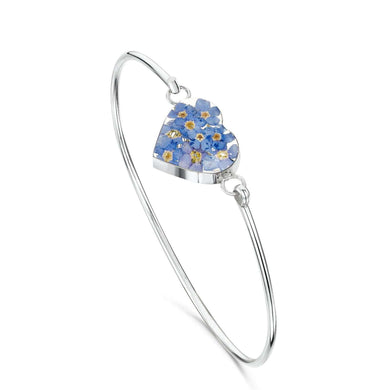 Shrieking Violet Silver Heart Bangle - Forget Me Not