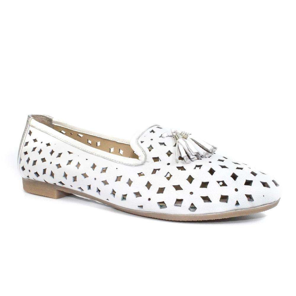 Slip On Perforated Leather Pump With Tassel Lunar Alma White