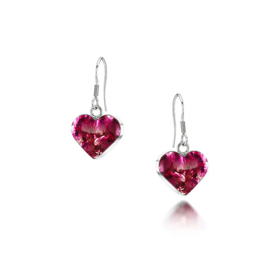 Shrieking Violet Silver Drop Heart Earring - Heather