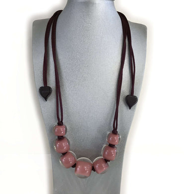 Zsiska Dark Pink Beaded Adaptable Necklace