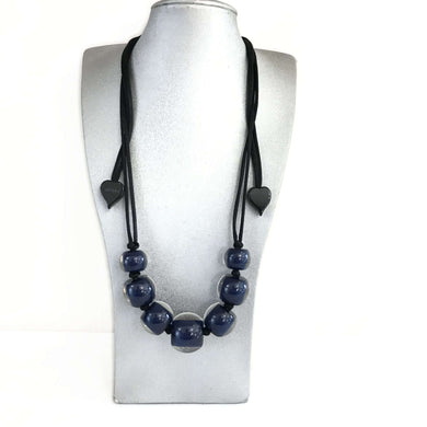 Zsiska Dark Navy Beaded Adaptable Necklace