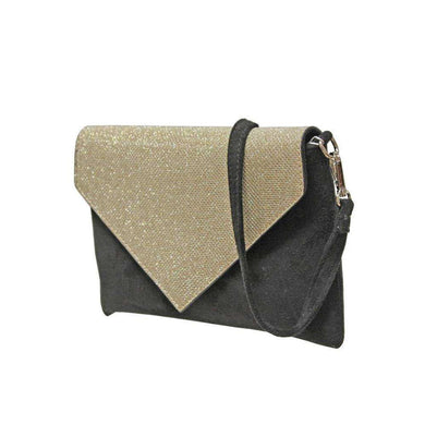 Envy Glitter Flap Over Faux Suede Clutch Bag (2 Colours)