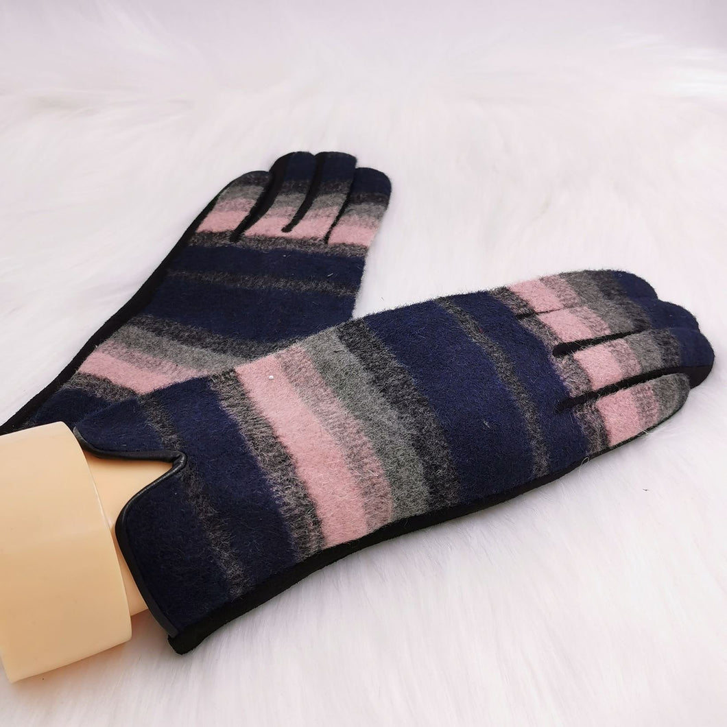 Multi Stripe Faux Leather Woven Effect Gloves (2 Colours)