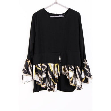 designer inspired longline blouse (Black)