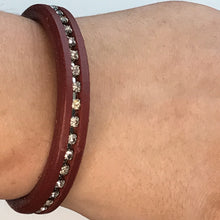 Bracelet Leather Chunky Strap Diamante Red
