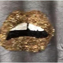 Knit Jumper Gold Sparkle Lips Black