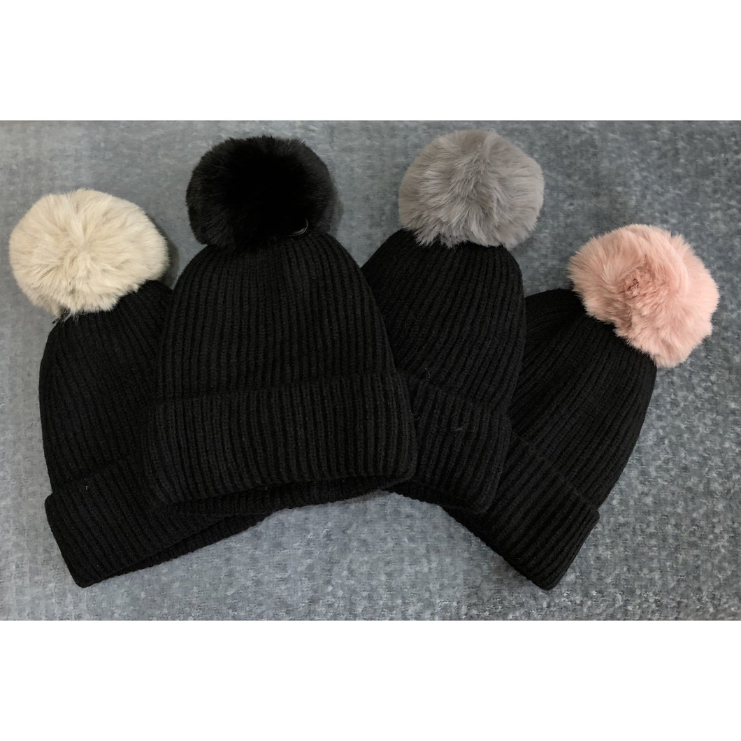 Pom  Pom Hat two tone