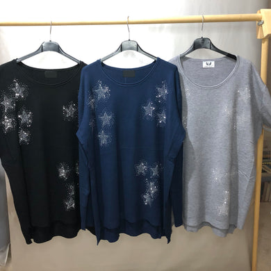 Knit Jumper Plain Sparkle Star (3 Colours)
