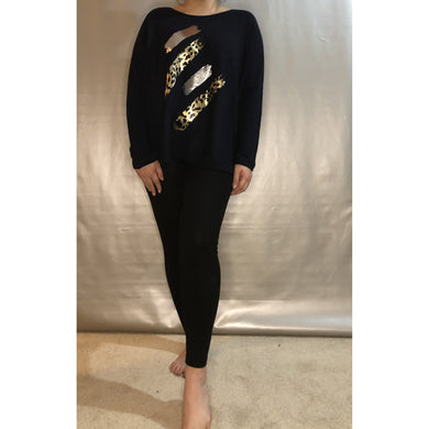 Ladies Light Knit Jumper Metallic and Leopard abstract print ( 4 Colours)