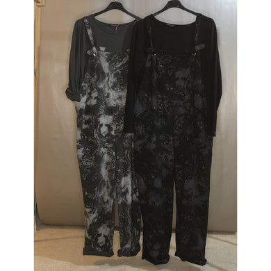 Ladies Super Stretch Dungarees in Acid Wash Sparkle Tie Dye Print (2 Colours)