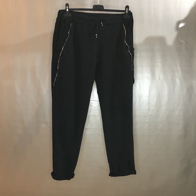 Ladies Super Stretch Draw String Trousers Zip Detail (2 colours)