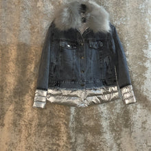 Jacket Denim Puffer Faux Fur Detachable Collar Silver (4 sizes)