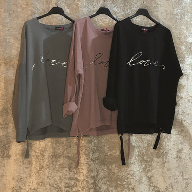 Sweatshirt Buckle Detail 'Love' Slogan (3 Colours)