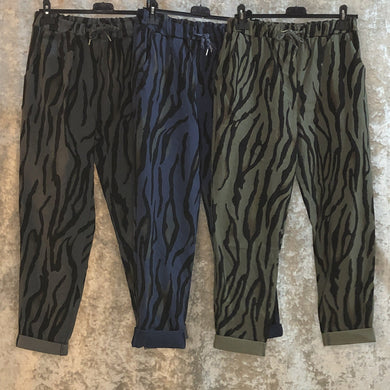 Ladies Super Stretch Draw String Magic Trousers Tiger Print Print Grey