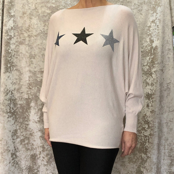 Jumper Batwing Sleeve Trio of Stars (8 Colours)