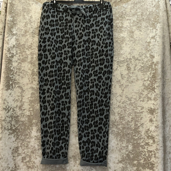Ladies Super Stretch Draw String Magic Trousers Leopard Print (3 Colours)