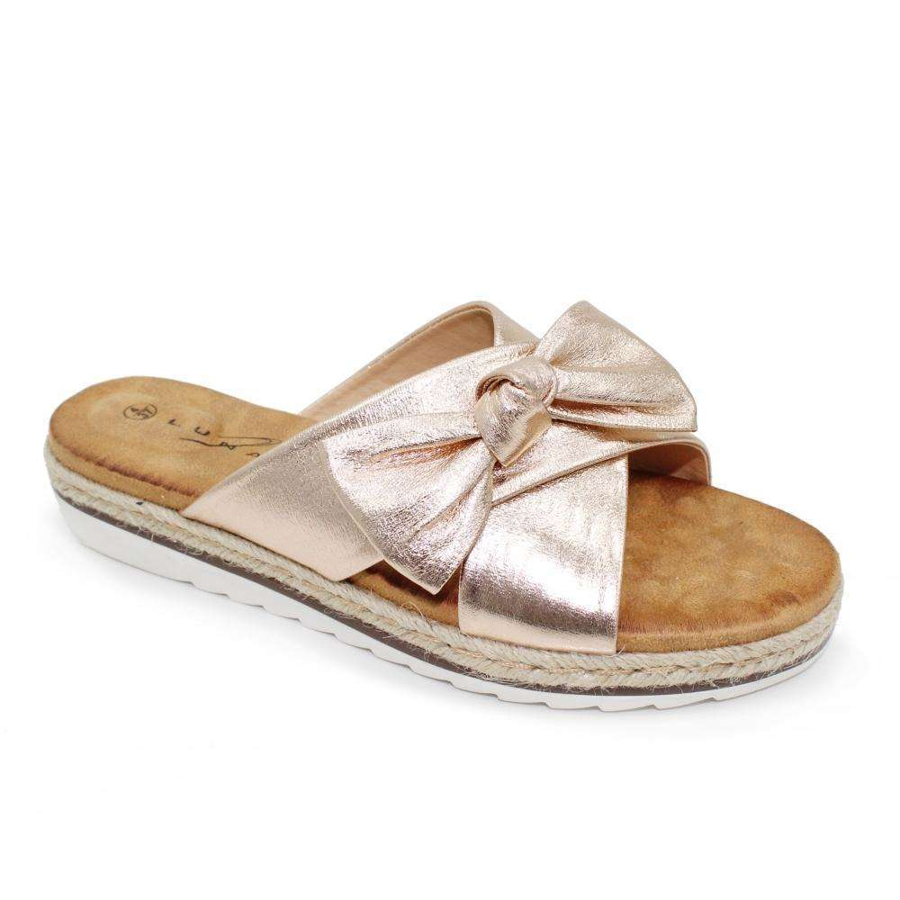 Sandal Slider Double Metallic Strap With Bow Lunar Rico Rose Gold
