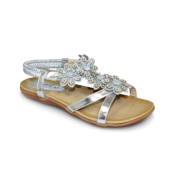 Sandal Flat With Floral Beaded Straps Lunar Fiji Silver