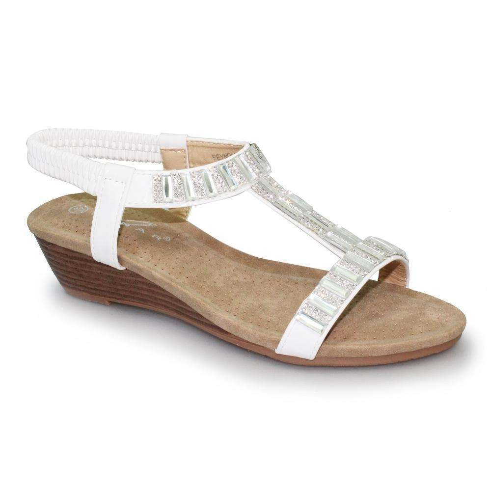 Sandal Low Wedge Gemstone Lunar Reynolds White