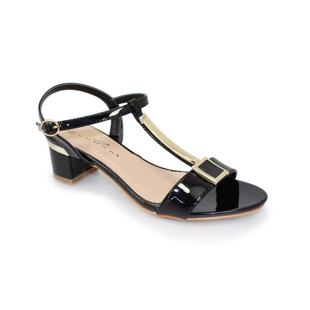 Sandal Block Heel T-Bar Gold Detail Lunar Blaze Black