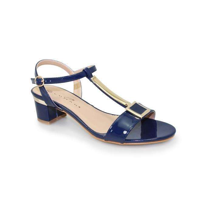 Sandal Block Heel T-Bar Gold Detail Lunar Blaze Navy
