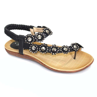 Sandals Flat Strap With Bead Detail Lunar Charlotte Black