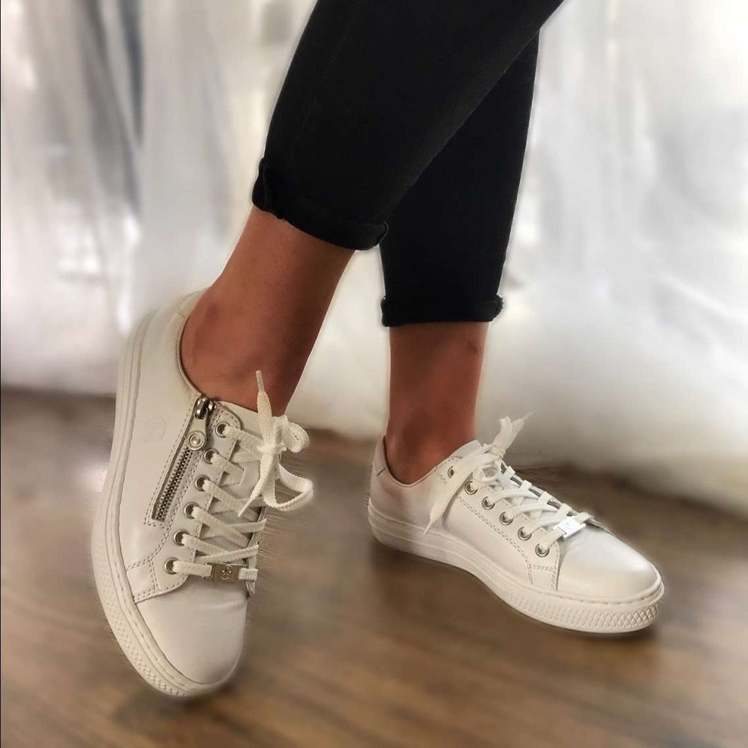 Trainer Zip And Lace Plain Rieker White